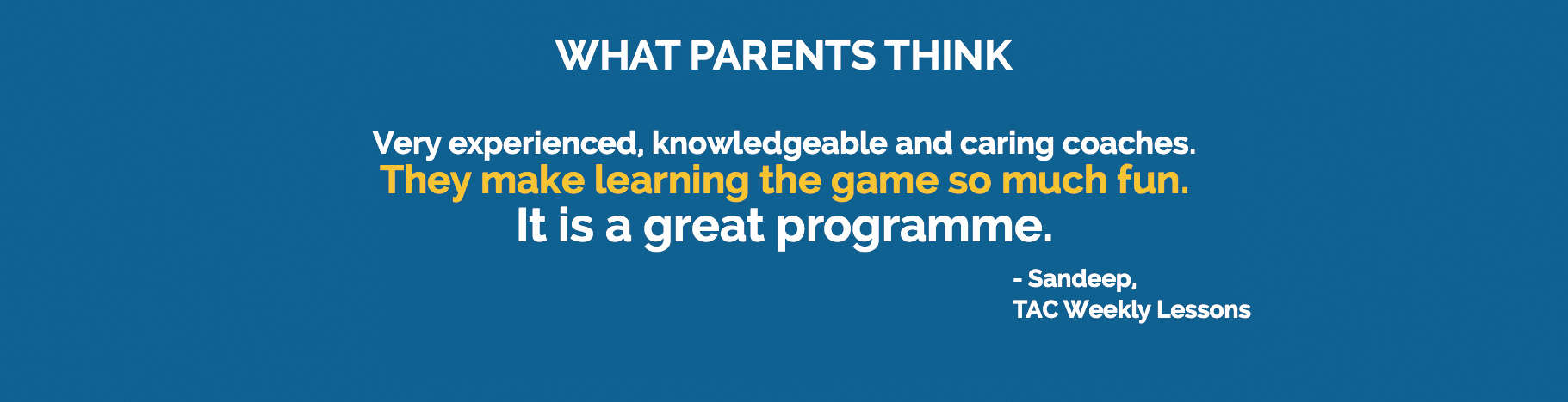 Testimonial: They make learning the game so much fun.